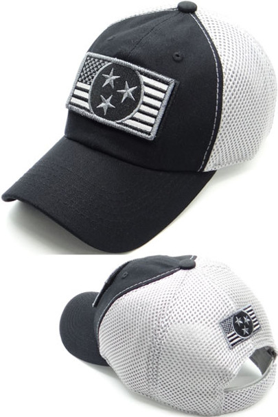 Tennessee USA Flag Patch Cap - Soft Jersey Air Mesh - Black/Gray
