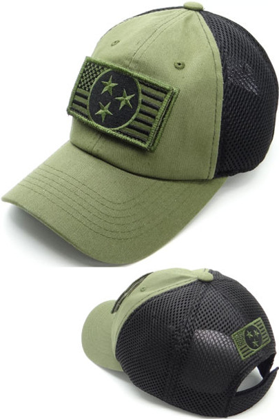 Tennessee USA Flag Patch Cap - Soft Jersey Air Mesh - Olive/Black