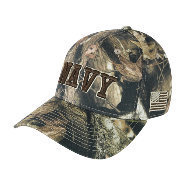 S86 - U.S. Navy Cap - Low Crown Structured Cotton - Snap Back - HybriCam Grey Bark Camouflage