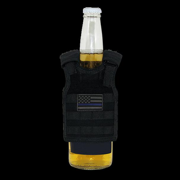 T99 - Tactical Mini Vest Beverage Carrier -Thin Blue Line USA Flag - Black