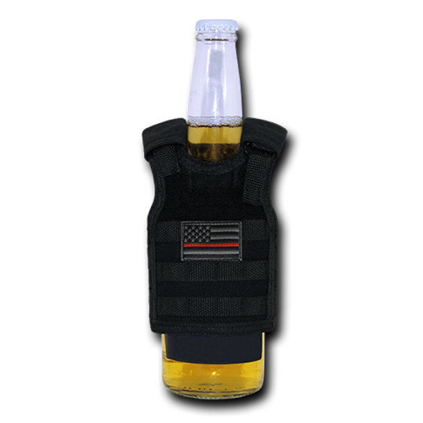 T99 - Tactical Mini Vest Beverage Carrier -Thin Red Line USA Flag - Black