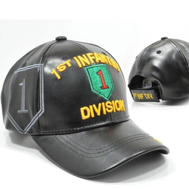 1st Infantry Division Cap - Faux Leather - Black