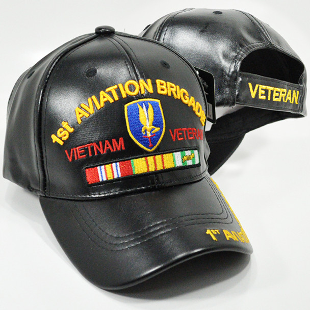 1st Aviation Brigade Vietnam Veteran Cap Faux Leather - Black