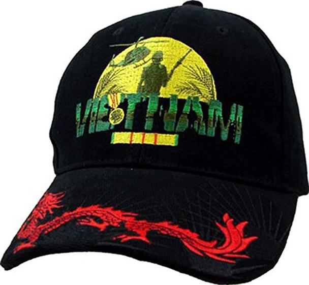 5768 - Vietnam Veteran Cap with Dragon - Cotton - Black