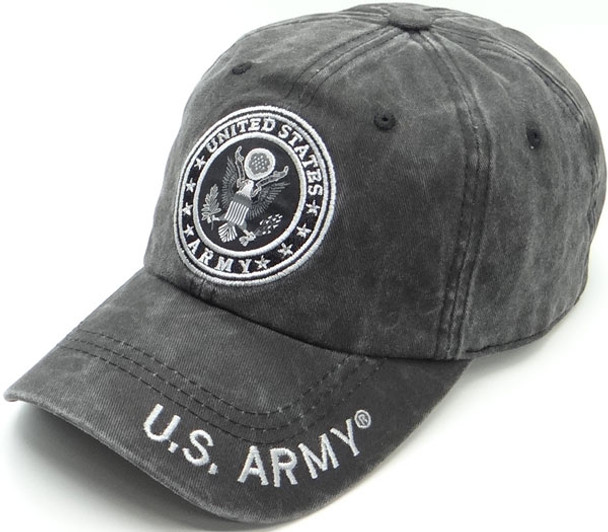 U.S. Army Cap Subdued Seal - Cotton Washed Black