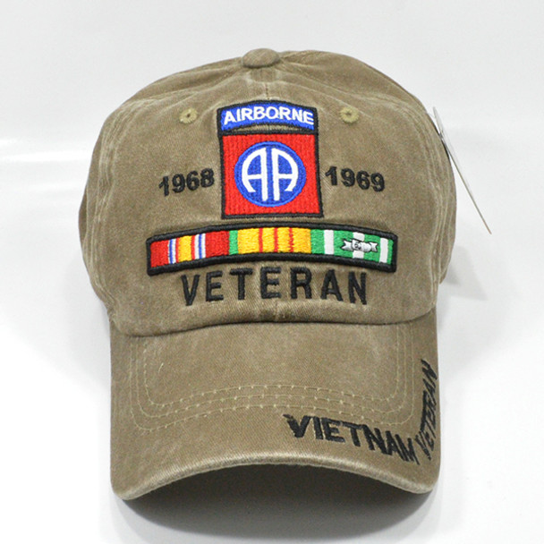 82nd Airborne Vietnam Veteran Cap - Cotton Washed Khaki