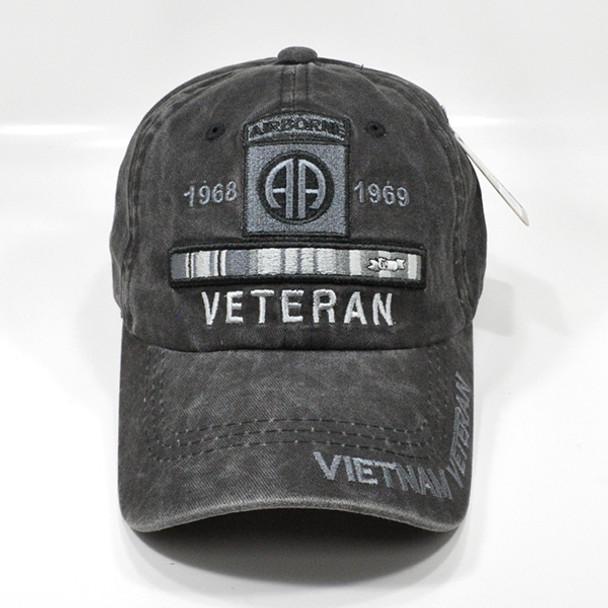 82nd Airborne Vietnam Veteran Cap - Cotton Washed Black