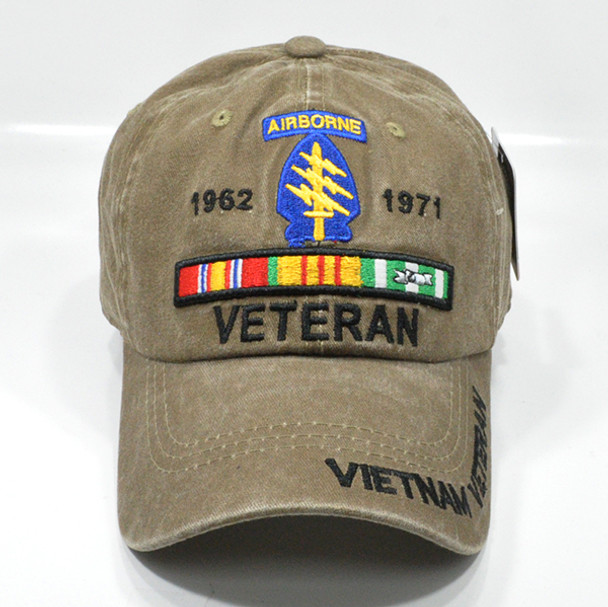 Airborne Special Forces Vietnam Veteran Cap - Cotton Washed Khaki