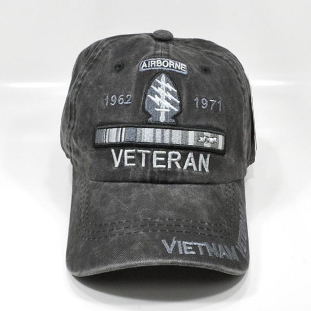 Airborne Special Forces Vietnam Veteran Cap - Cotton Washed Black