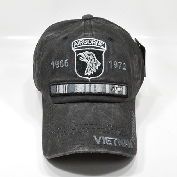 101st Airborne Vietnam Veteran Cap - Cotton Washed Black