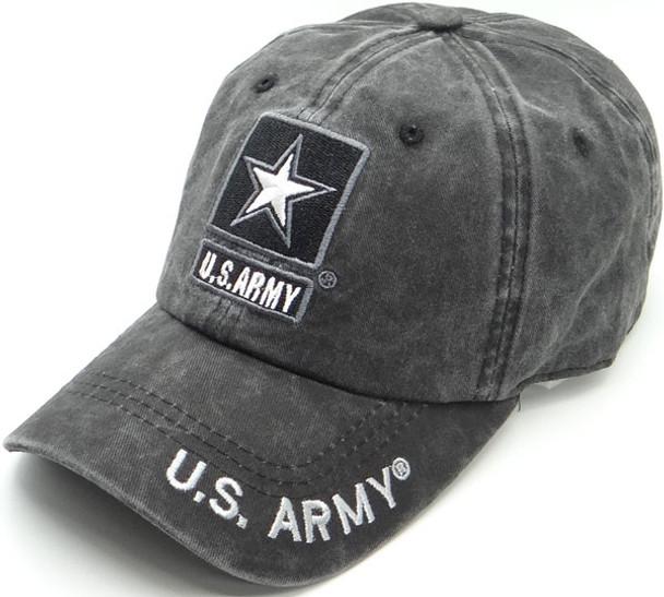 U.S. Army Cap Star Logo - Cotton Washed Black