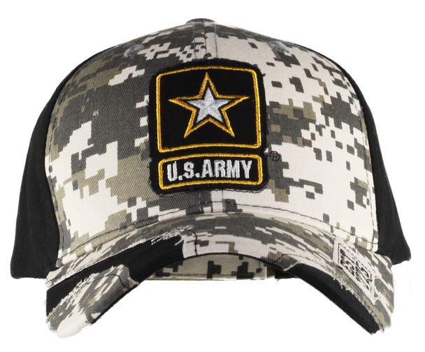 40364 - U.S. Army Cap Star Logo Distressed - ACU Digital Camo/Black