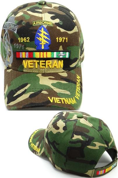 Vietnam Veteran Special Forces Airborne Shadow Cap - Woodland Camo