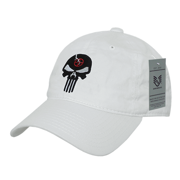 A03 - Punisher Skull Tactical Cap - Relaxed Cotton - White