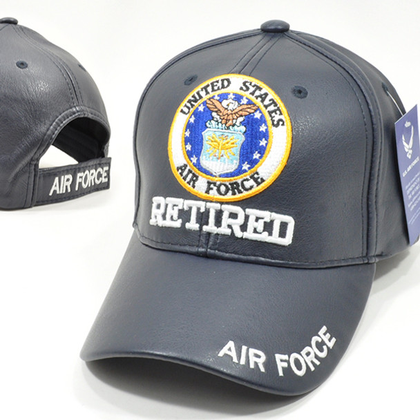 U.S. Air Force Retired Cap - Faux Leather - Blue