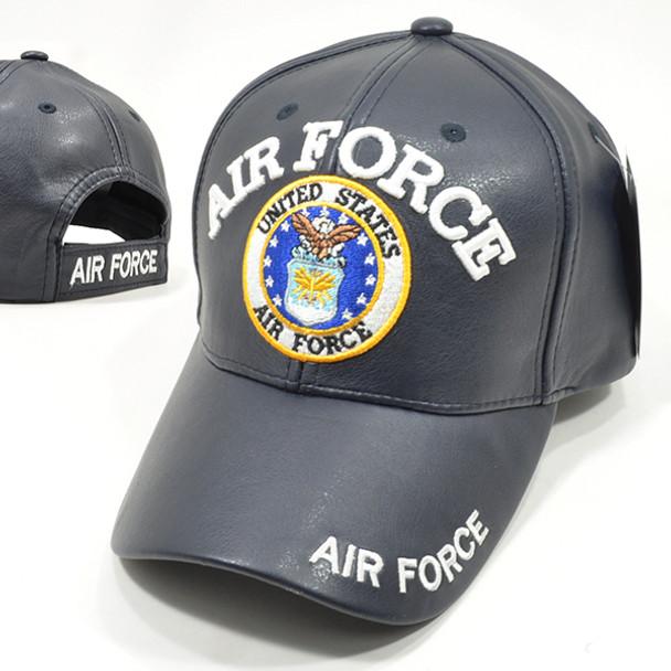 U.S. Air Force Cap - Faux Leather - Blue