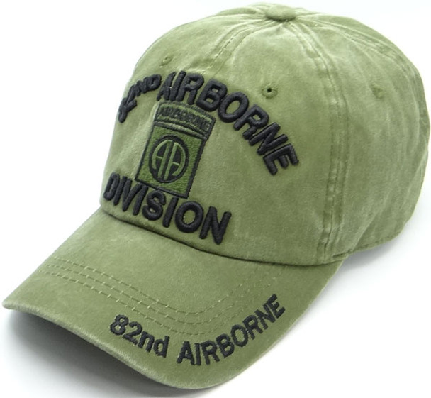 82nd Airborne Division Cap Subdued Insignia - Cotton Washed OD Green