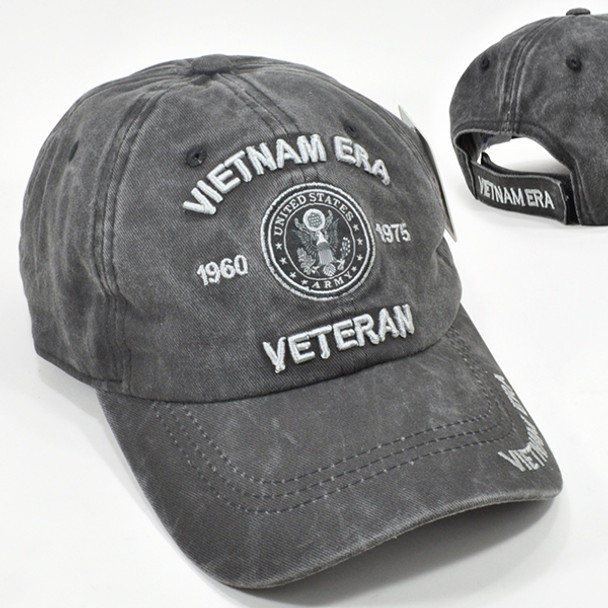 Army Vietnam Era Veteran Cap Subdued - Cotton Washed Black