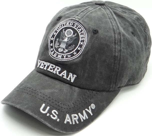 U.S. Army Veteran Cap Subdued Seal - Cotton Washed Black