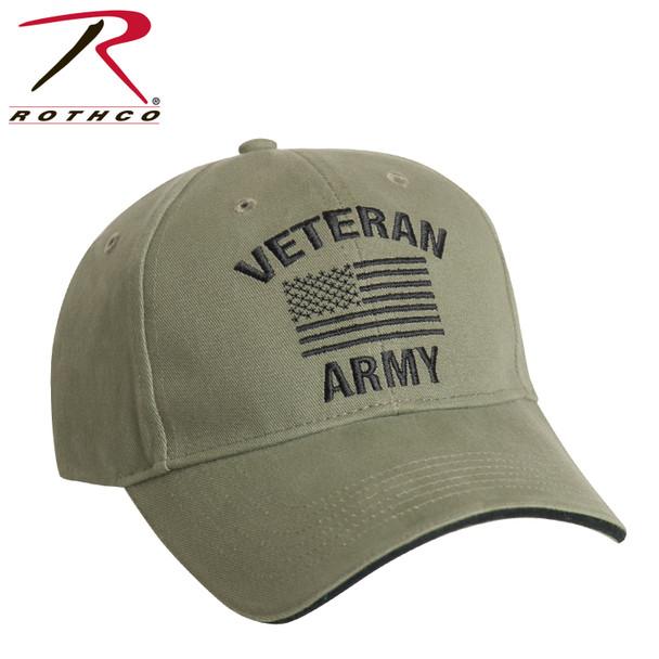 Rothco 3521 U.S. Army Veteran Cap Low Profile Cotton Olive Drab