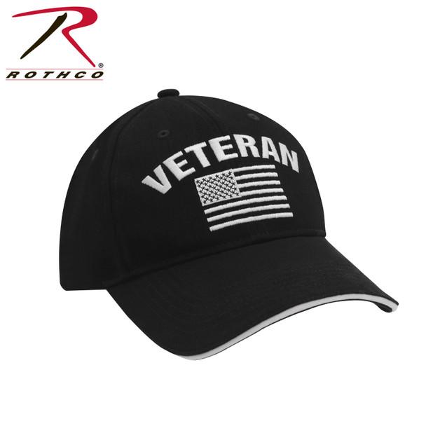Rothco 5782 Veteran Cap USA Flag Low Profile Cotton Black