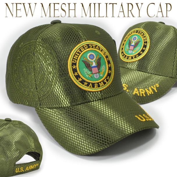 U.S. Army Cap Emblem Shadow - Mesh - Olive
