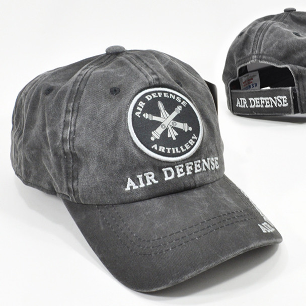 Air Defense Artillery Cap Subdued Insignia - Cotton Washed Black
