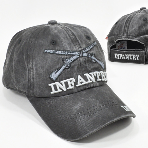 Infantry Cap Subdued Crossed Rifles Insignia - Cotton Washed Black