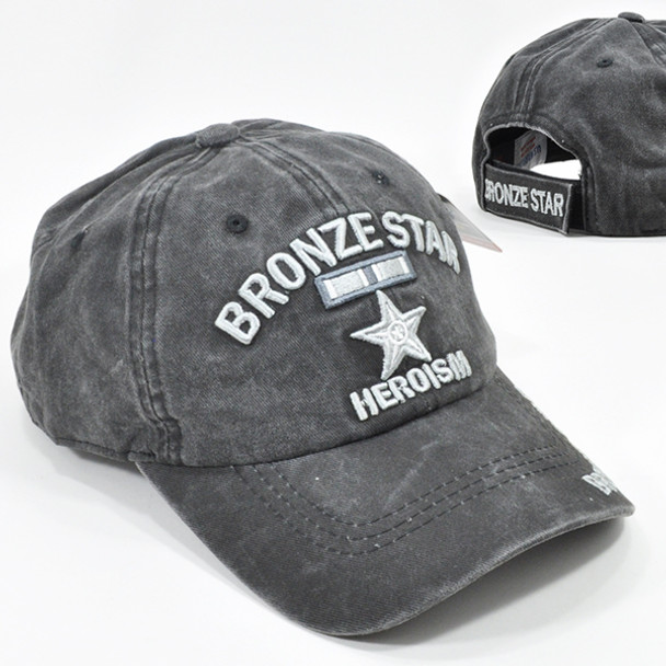 Bronze Star Cap Heroism Medal Subdued - Cotton Washed Black
