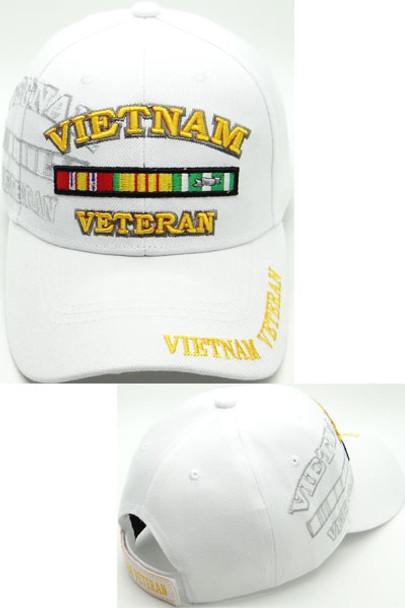 Vietnam Veteran Cap Ribbons Shadow - White
