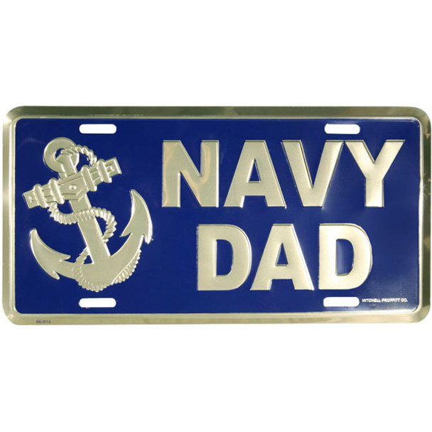 LN57 - Navy Dad License Plate - Made in USA - Navy/Gold