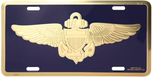 LN07 - USN Naval Aviator Insignia License Plate - Made in USA - Navy/Gold