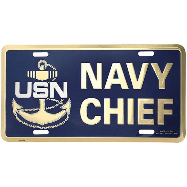 LN19 - Navy Chief License Plate - Made in USA - Navy/Gold