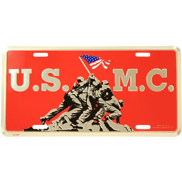 LM08 - USMC Raising USA Flag at Iwo Jima License Plate - Made in USA - Red/Gold