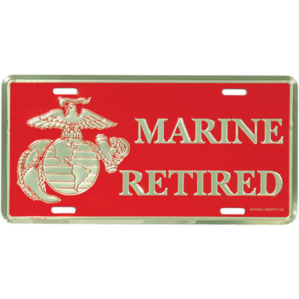 LM22 - Marine Retired License Plate - Made in USA - Red/Gold