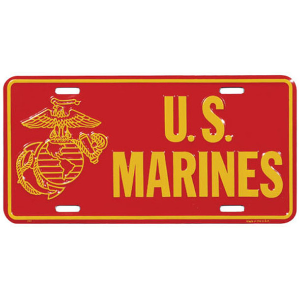 LM40 - U.S. Marines License Plate - Made in USA - Red/Gold
