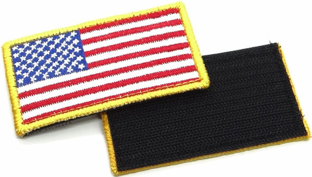 """USA Flag Patch 3.5"""" x 2""""- Velcro - Red White Blue Gold"""