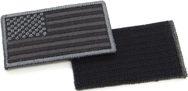"USA Flag Patch 3.5"" x 2""- Velcro - Subdued Black/Gray"