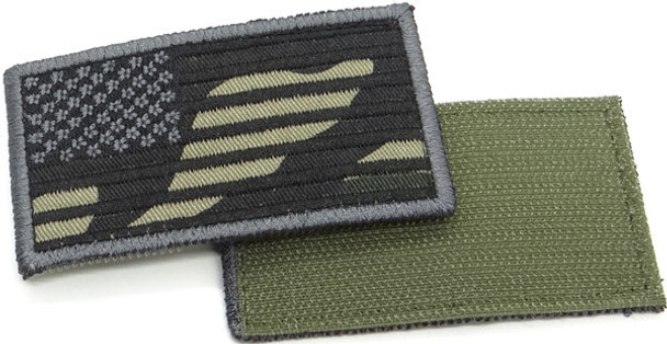 "USA Flag Patch 3.5"" x 2""- Velcro - Woodland Camo"