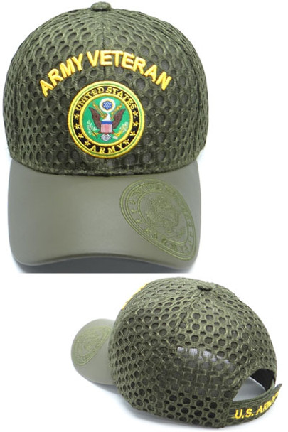 U.S. Army Veteran Cap Seal - Waffle Mesh - Olive