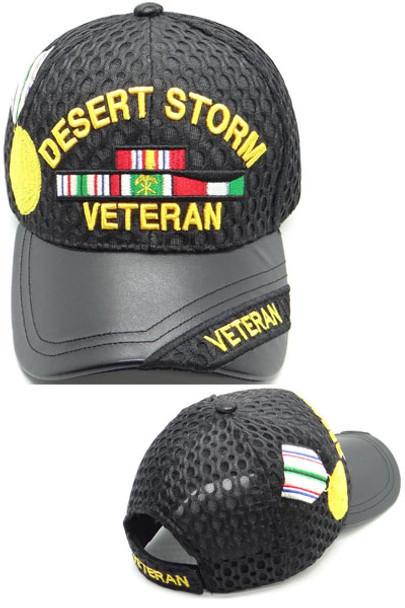 Desert Storm Veteran Cap Medal & Ribbons - Waffle Mesh - Black