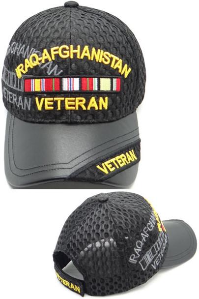 Iraq Afghanistan Veteran Cap - Waffle Mesh - Black
