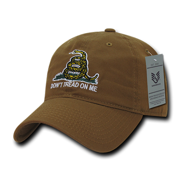 A03 - Relaxed Graphic Cap - Gadsden Flag - Coyote