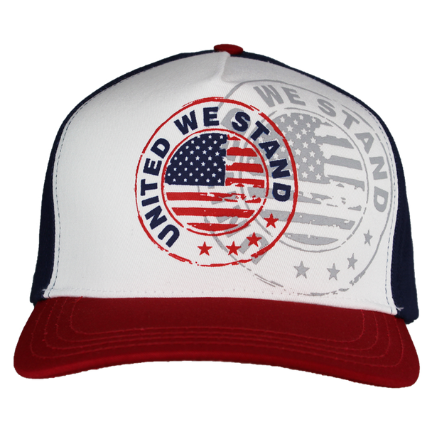 38901 - USA Flag Patriotic Cap - United We Stand Shadow - Made in USA - Red/White/Blue