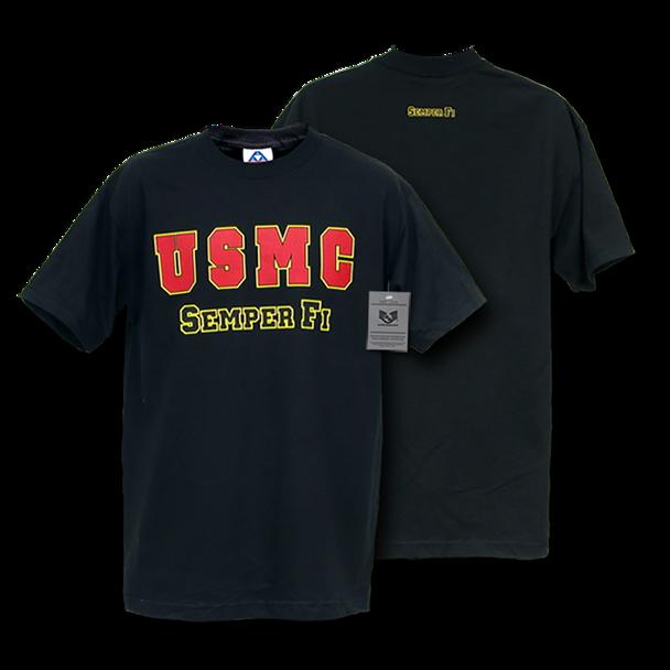S25 - Classic Military T-Shirts - USMC SEMPER FI - Black