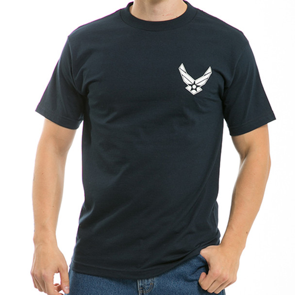 S25 - Classic Military T-Shirts - Air Force Wings - Navy Blue