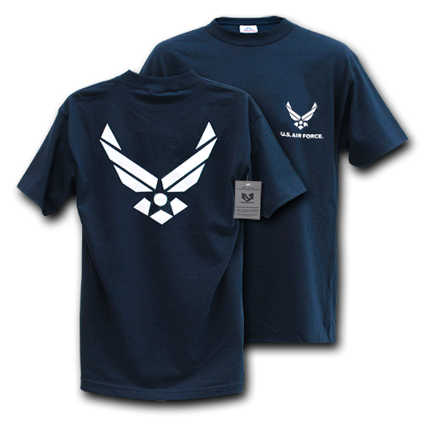 S25 - Classic Military T-Shirts - Air Force Wing - Navy Blue