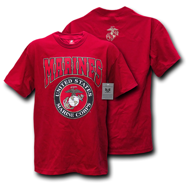 S25 - Classic Military T-Shirts - Marines - Red