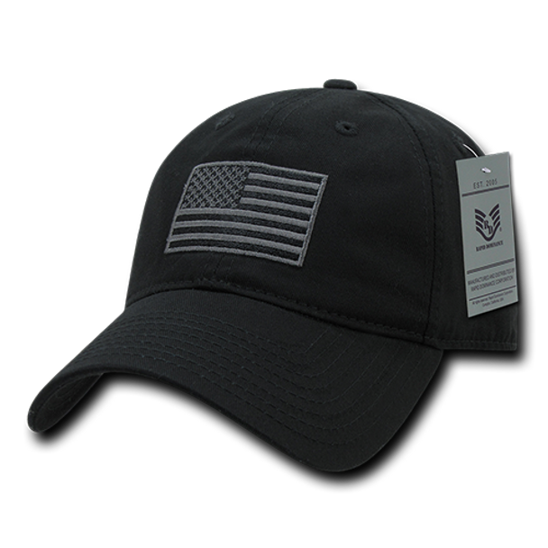 A03 - Tactical Operator Cap Black US Flag Subdued