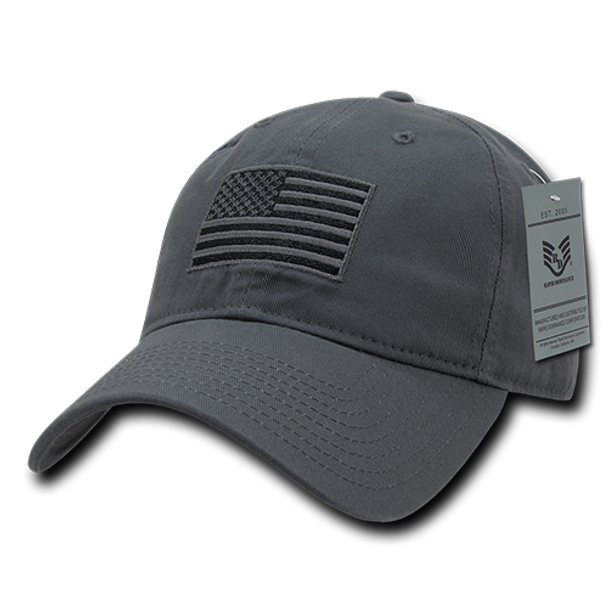 Tactical Cap Relaxed US Flag Dark Grey - US Military Hats 53ce9cbd264